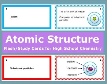 Atomic Structure: Printable Flash (Study) Cards to study for quizzes & tests