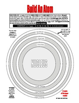 BUILD 8 MODEL paste-up ATOMS  3-4 Day Lab  16-PAGES