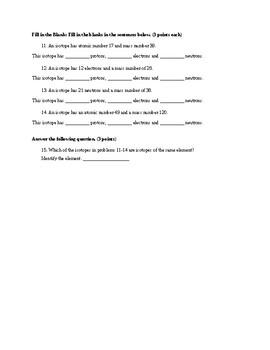 Atomic Structure Quiz