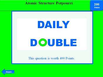 Atomic Structure Review: Interactive 2-Round Jeopardy Game w/Scoreboard