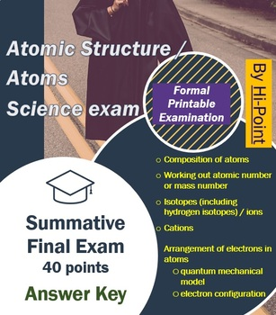 Atoms Exam: Atomic Structure Science test 40 points with Answer Sheet and Key