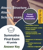 Atomic Structure / Atoms Science exam 40 points with Answer Sheet and Key