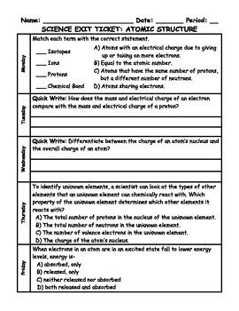 Atomic Structure Science Exit Tickets With Key (1 Week)