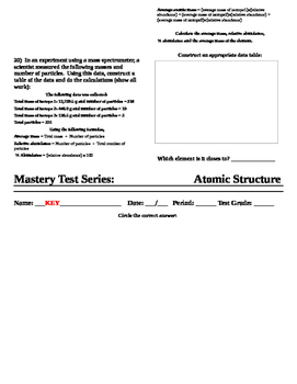 Atomic Structure - Mastery Test