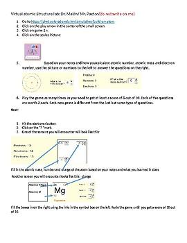 Atomic Structure Virtual Lab using PHET