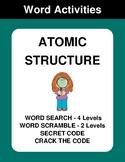 Atomic Structure - Word Search, Word Scramble,  Secret Cod