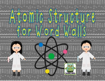 Atomic Structure Word Wall Terms/Pictures (includes Spanish word strips)
