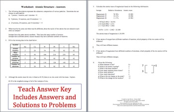 Worksheets Atomic Structure Worksheet Answers atoms and atomic structure by amy brown science teachers pay worksheet