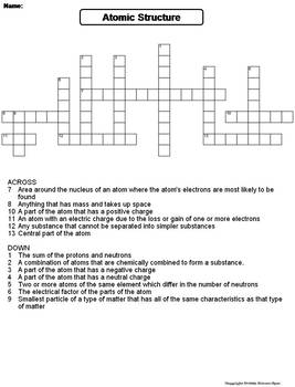 Atomic structure crossword worksheet answer key