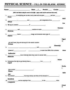 Atomic Structure - Worksheet1 - Fill-in-the-blank by Mercury ...