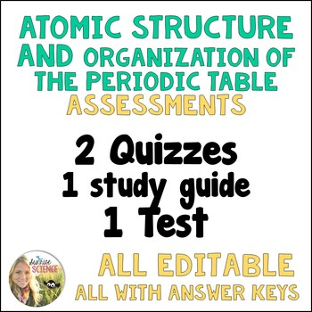 Atomic Structure and Periodic Table 2 Quizzes, Study Guide, Test, Editable