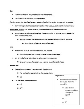Atomic Structure and Periodic Table Handout