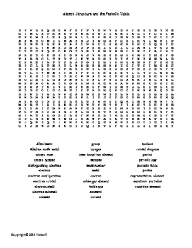 Atomic Structure and Periodic Table Word Search for General Chemistry