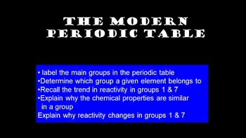 The modern periodic table - periodic table 3