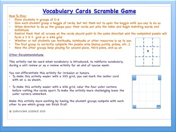 Atomic Structure  & the Periodic Table Vocabulary Scramble Game