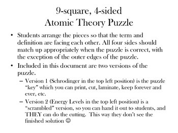 Atomic Theory 9-square 4-sided puzzle