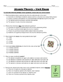 Atomic Theory Test -- Unit Exam (Atoms, Isotopes, Ions, Nuclear Chemistry)