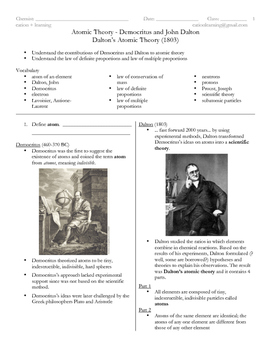 Atomic Theory Portfolio (7 worksheets and answers)