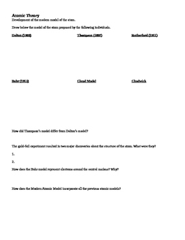 Atomic Theory Worksheet and Review