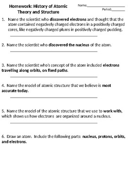 Atomic Theory and the Periodic Table Practice