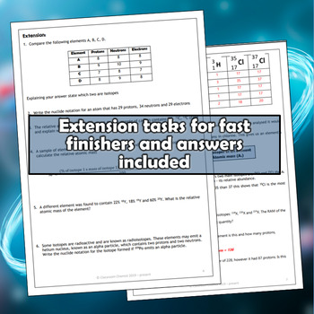 Atomic number, Atomic Mass and Isotopes Worksheet and PowerPoint