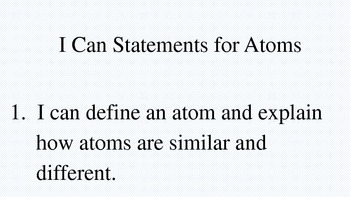 "Atoms Activity for Science with ""I Can Statements"" and Activity Cards."