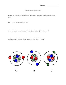 Atoms Assessment Vocabulary and Structure