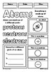Atoms Visual Coloring Doodle Sheet Guided Notes Review Elementary Science