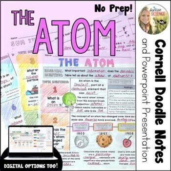 Atoms Cornell Doodle Notes : Subatomic Particles and Reading the Periodic Table