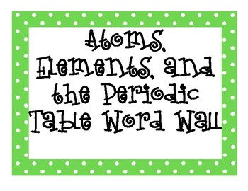 Atoms, Elements, and the Periodic Table INTERACTIVE Word Wall