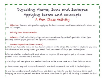 Atoms, Ions, Isotopes: A Class Activity/Game