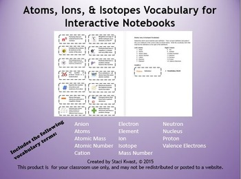 Atoms Ions Isotopes Vocabulary for Interactive Notebooks
