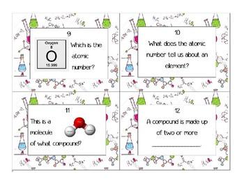 Atoms, Molecules, Compounds Task Cards