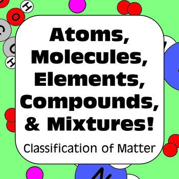 Atoms, Molecules, Elements, Compounds, & Mixtures Classification of Matter