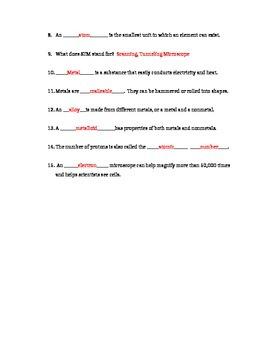 Atoms, Molecules, Metals Quiz