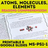 Atoms, Molecules, and Elements Reading Comprehension NO PREP