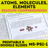 Atoms, Molecules, and Elements Reading Comprehension NO PREP