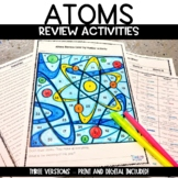 Atoms Proton Neutron Electron Color by Number Review Activity