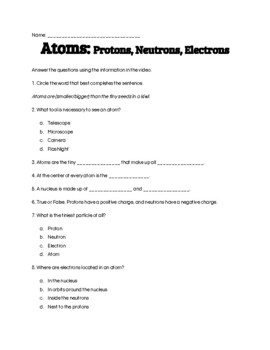 Atoms; Protons, Neutrons, Electrons Worksheets & Teaching ...
