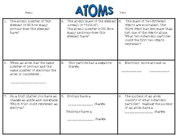 Atoms - Science Bell Ringers