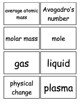 Atoms:  The Building Blocks of Matter Flash Cards High School 9-12
