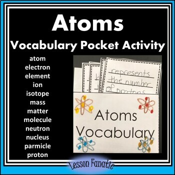 Atoms Vocabulary Words Pocket Activity with Definition and Word Wall Cards