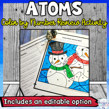 Atoms Winter Color by Number Editable Review Activity