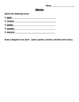 Atoms Worksheet (In English)