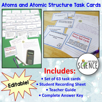 Atoms and Atomic Structure Task Cards