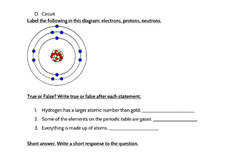 Atoms and Elements Assessment