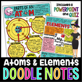 ATOMS & ELEMENTS SCIENCE DOODLE NOTES, INTERACTIVE NOTEBOOK, ANCHOR CHART + QUIZ