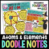ATOMS & ELEMENTS SCIENCE DOODLE NOTES, INB, ANCHOR CHART + QUIZ