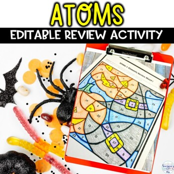 Atoms and Elements Halloween Color by Number Editable Review Activity