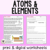 Atoms and Elements - Reading & Questions - PDF & Digital Versions